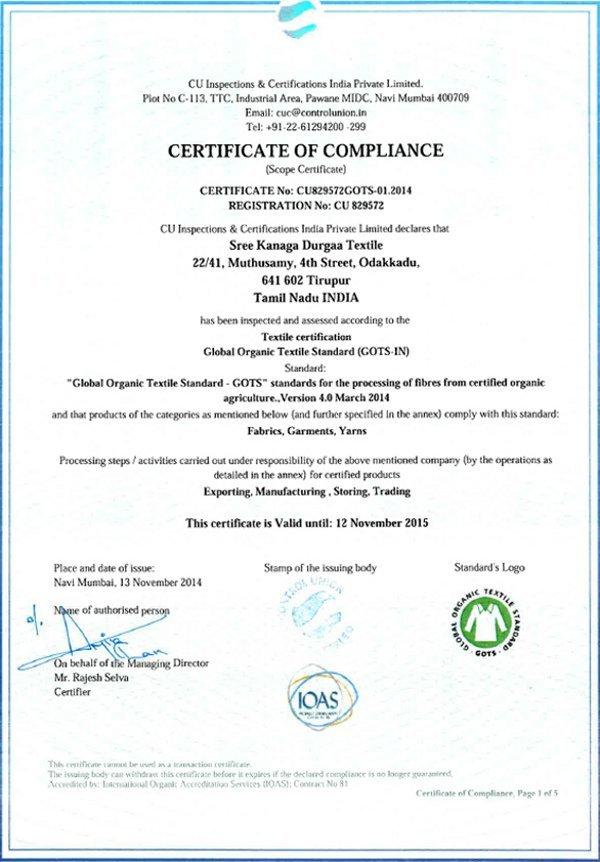 DUNS Sweden GOTS certifikat