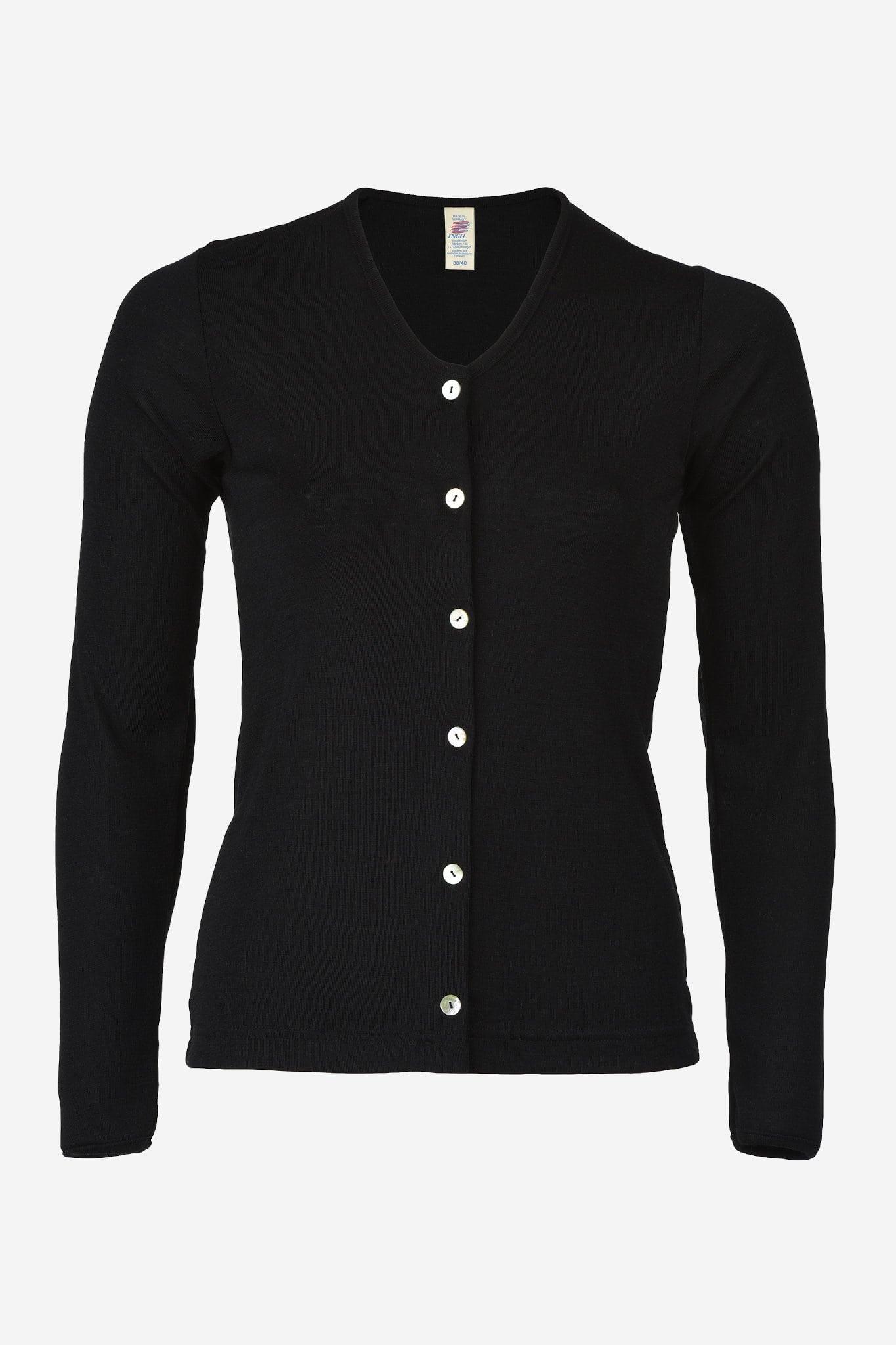 baa2b430 Cardigan ull/silke svart