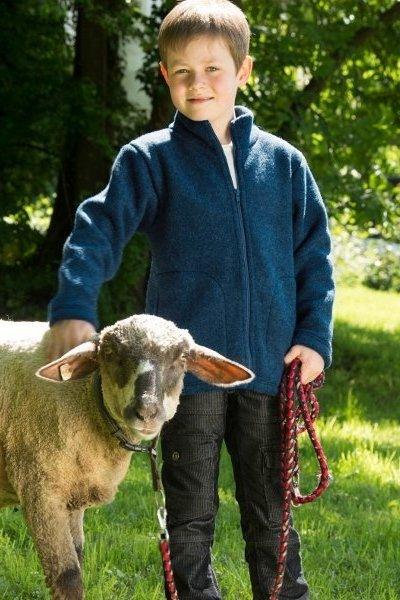 Jacka ullflis barn marinblå stl 104-152