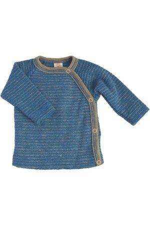 Omlottröja ullfrotté baby denimblå/sand randig stl 50-92