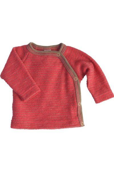 Omlottröja ullfrotté baby röd/sand randig stl 50-92