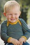 Ulltröja baby klaffhals denimblå/solgul stl 62-104