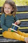 Ulltröja baby klaffhals denimblå/solgul, stl 62-80