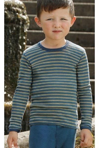 Ulltröja barn randig denimblå/solgul stl 92-164