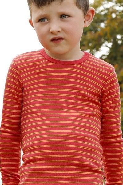 Ulltröja barn randig röd/solgul stl 92-164