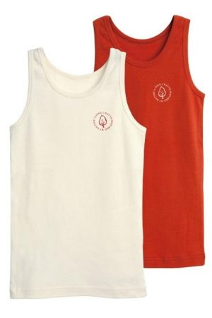 Linne barn 2-pack vit/röd
