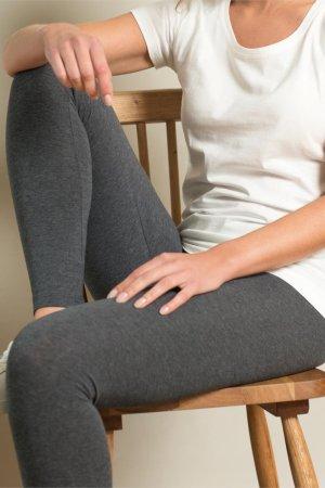 Leggings i bomull gråmelerat modell