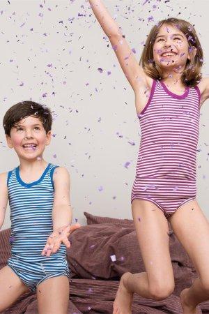 linne barn randigt modell