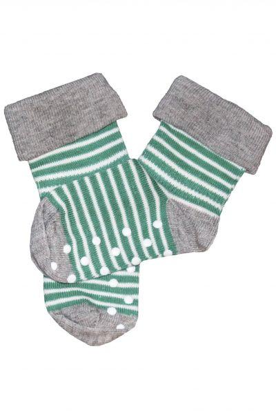 Strumpor barn halsskydd grön-vita