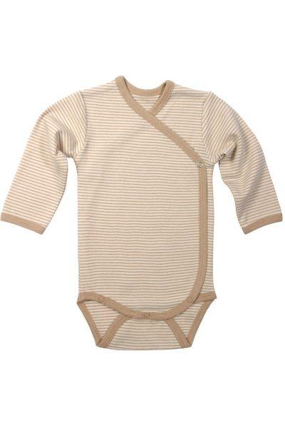 Body långärm kimono färgväxande brun randig stl 50-68