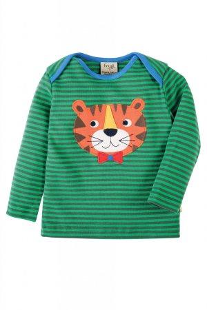 Barntröja grön randig applikation tiger, 0-4 år