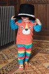 Barntröja raglanärm applikation tiger, 0-4 år