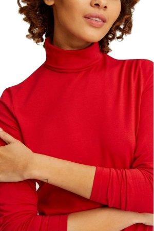 Polotröja Laila röd modell närbild
