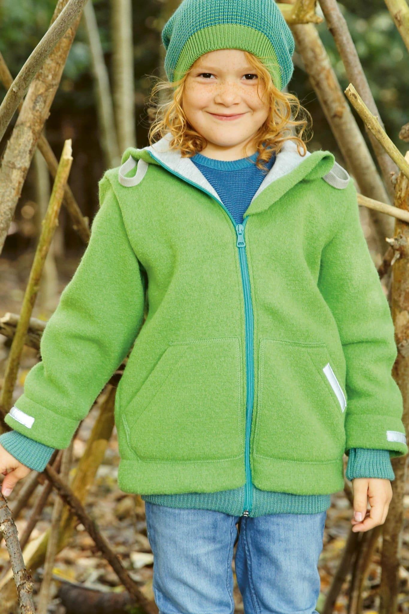 Barnkläder filtad ull jacka grön modell Disana 221bebe80e3cc