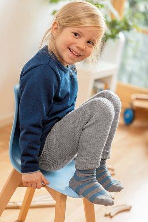 leggings stickad ull baby/barn grå modell