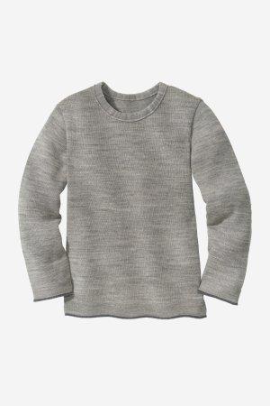 tröja barn stickad ull grå