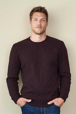 tröja stickad ull herr plommon modell