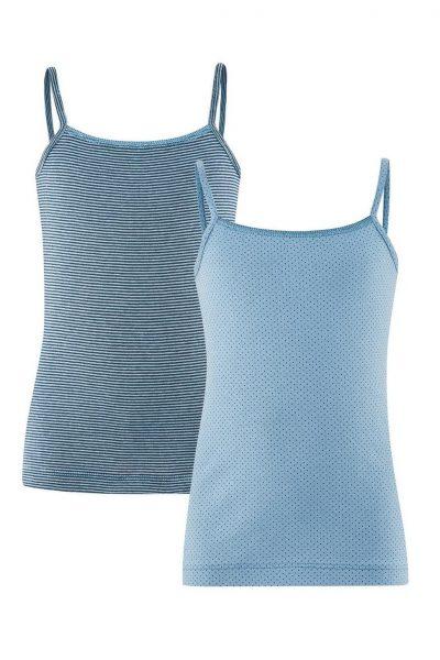 linne barn blått randigt prickigt 2-pack