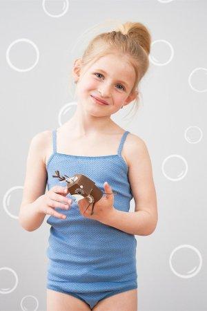 linne barn blått randigt prickigt 2-pack modell