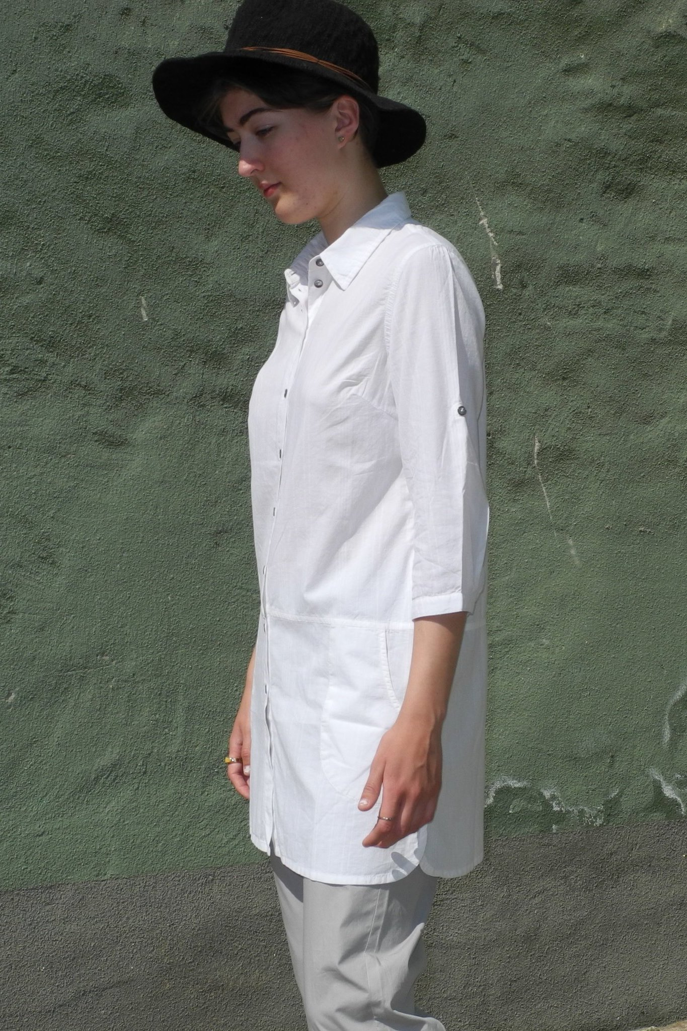 bb66ed563f13 Lång skjorta/Tunika trekvartsärm vit