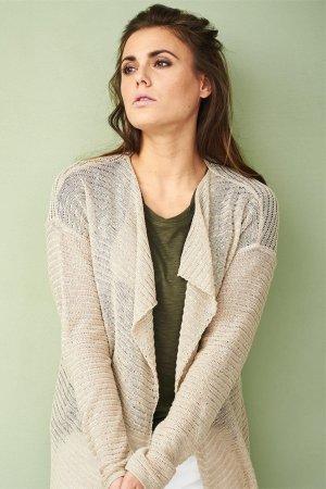 cardigan lin/bomull naturfärgad modell