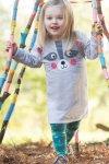 Barnklänning vändbar tvättbjörn applikation, 1,5-3 år