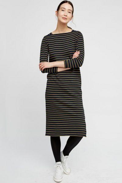 Klänning Lucille oliv/marinblå randig