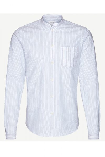 Skjorta Esias emilkrage vit/blå/röd randig