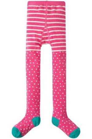 Strumpbyxor barn rosa rand/prick, 1-8 år
