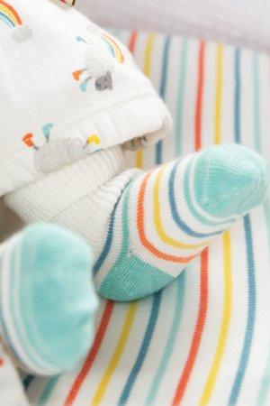 strumpor baby vit/blåturkos 2-pack modell
