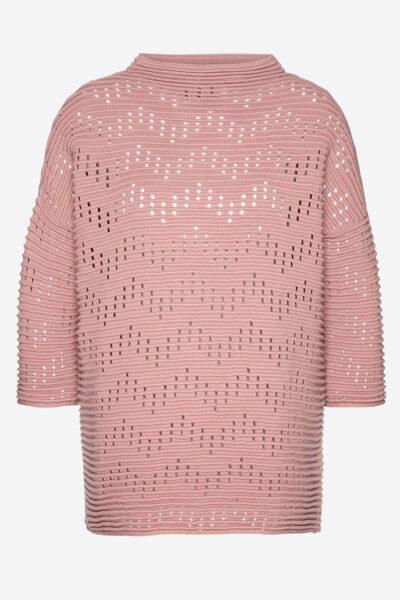 Tröja trekvartärm mönsterstickad Fanette rosa