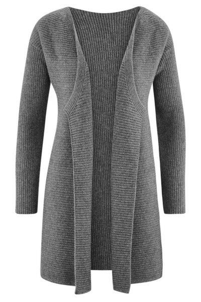 cardigan lång ull/bomull gråmelerad