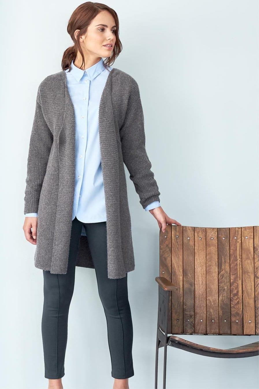 cardigan lång ull/bomull gråmelerad modell helbild