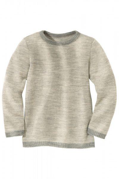 tröja stickad ull barn grå/vit