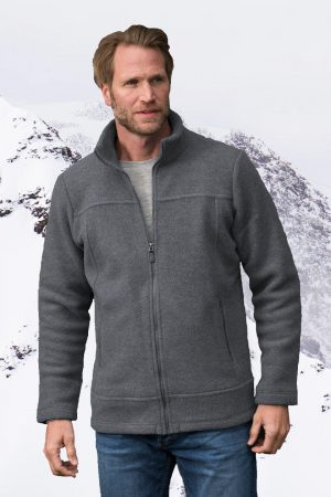 ulljacka herr ekologisk ullfleece grå modell