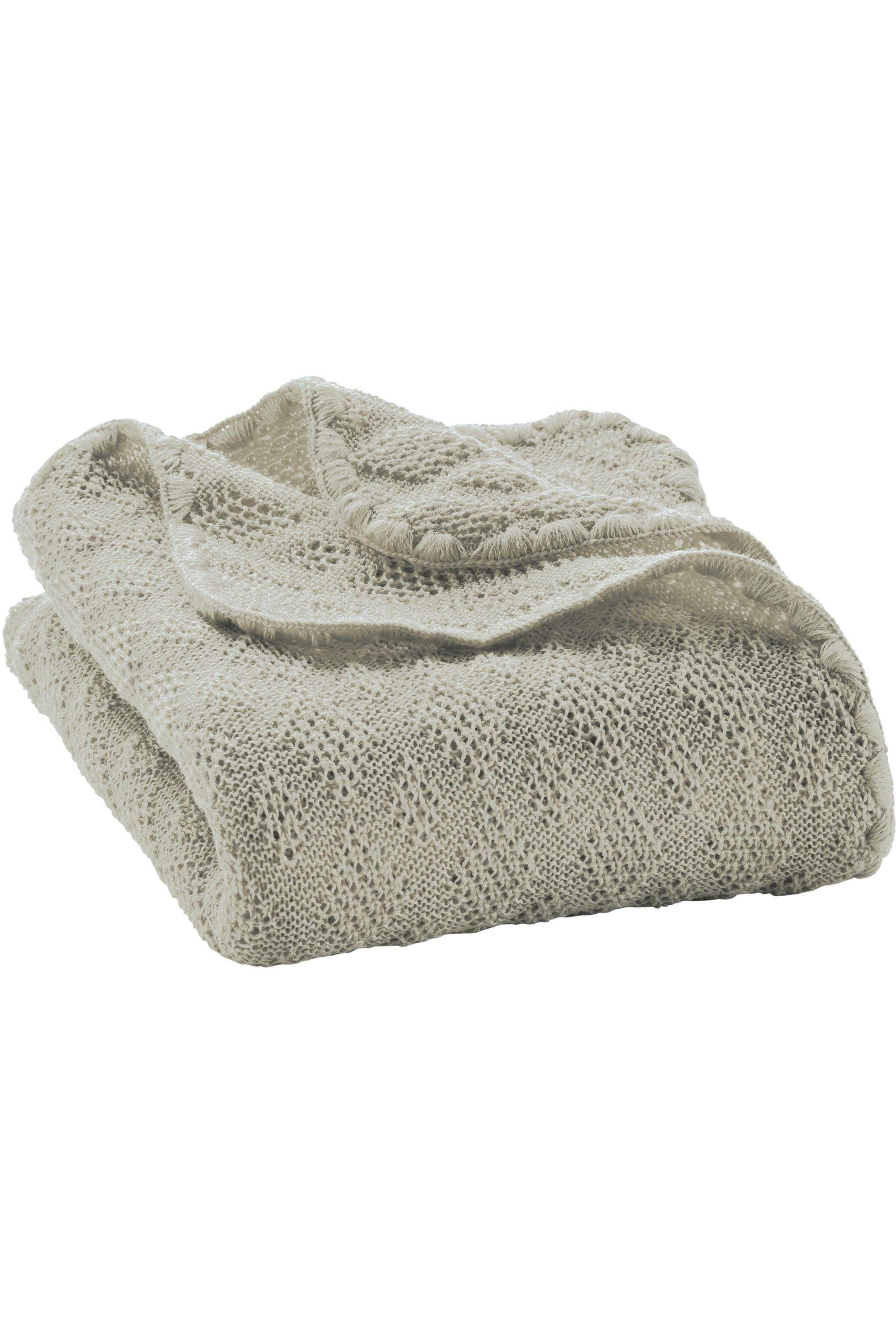 babyfilt stickad ull grå