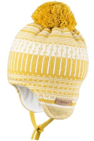 vintermössa stickad barn gul