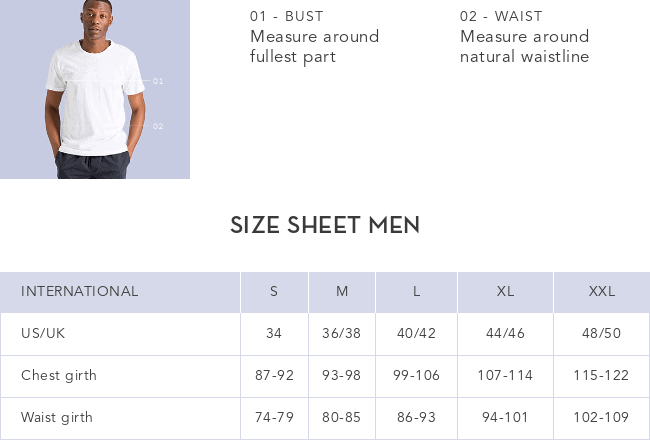 Armedangels storleksguide herr tröjor