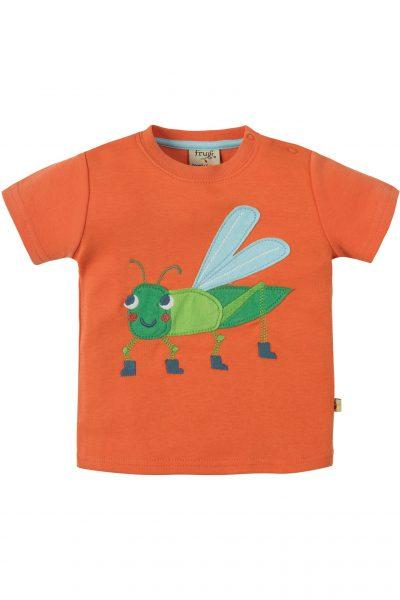 Barntröja kortärm applikation gräshoppa, 0-4 år