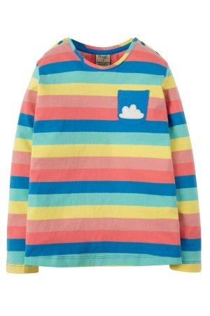 Barntröja regnbågsfärgad bröstficka, 2-9 år