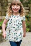 Blus barn kortärm poplintyg blommor, 2-8 år