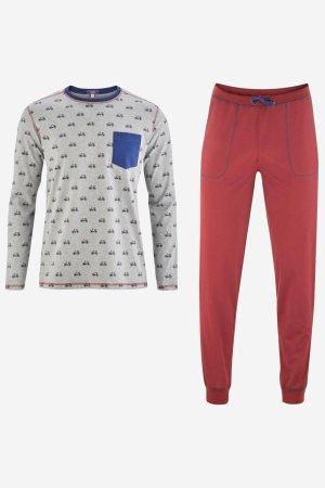 pyjamas herr cyklar grå/röd