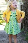 Snurrklänning barn kortärm grön ankdamm, 1-4 år