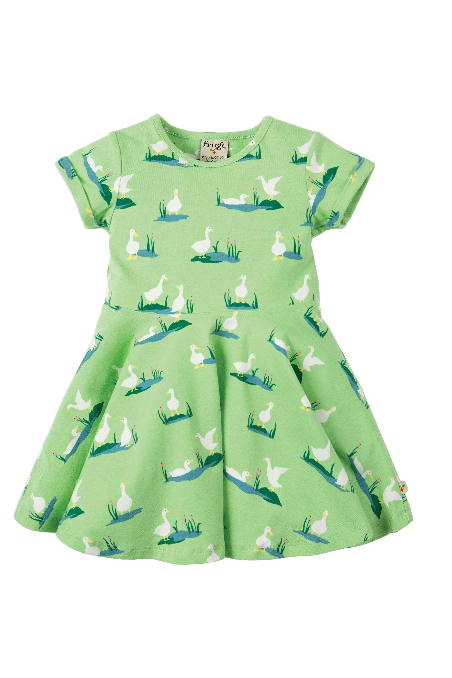 7e7fe32c9e9e Snurrklänning barn kortärm grön ankdamm, 1-4 år