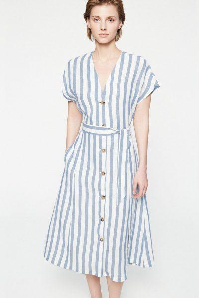 klänning saalika lin blå/vit randig modell