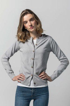 cardigan basic bomull gråmelerad modell