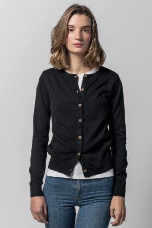 cardigan basic bomull svart modell