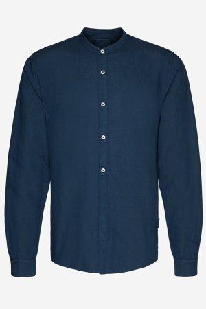 skjorta emilkrage lin/bomull maacius marinblå