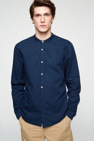 skjorta emilkrage lin/bomull maacius marinblå modell