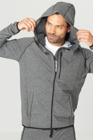 träningsjacka hoodie gråmelerad modell